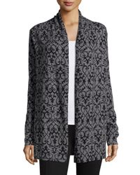 Neiman Marcus - Black Open-front Scroll-print Cardigan - Lyst