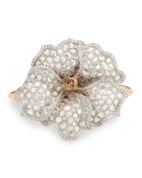 Nina Runsdorf | Metallic White And Cognac Diamond Flower Cuff Bracelet | Lyst