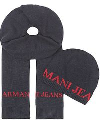 Armani Jeans | Gray Hat And Scarf Box Set for Men | Lyst