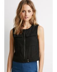 Forever 21 | Black Zippered-front Woven Top | Lyst