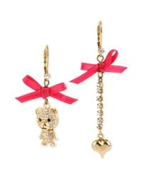 Betsey Johnson | Pink Antique Goldtone Crystal Bear and Heart Mismatch Drop Earrings | Lyst