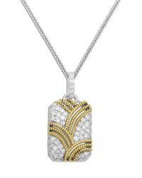 Lord & Taylor | Metallic Sterling Silver Necklace With 14kt. Yellow Gold Diamond Pendant | Lyst