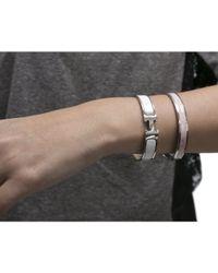 Hermès | Pre-Owned White Enamel Silver Clic Clac Pm Bracelet | Lyst