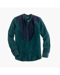 J.Crew - Green Collection Luxe Silk Tuxedo Shirt - Lyst