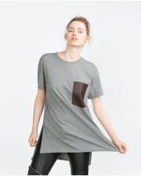 Zara   Gray Oversize T-shirt   Lyst