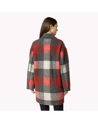 Tommy Hilfiger - Red Wool Blend Check Coat - Lyst
