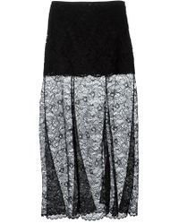 DKNY - Black Sheer Lace Maxi Skirt - Lyst