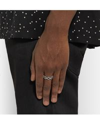 Saint Laurent - Metallic Burnished Silver-tone Chain Ring for Men - Lyst