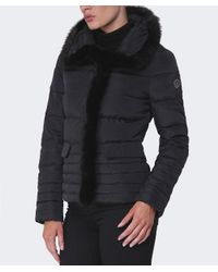 Armani Jeans | Black Fur Trim Puffa Jacket | Lyst