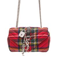Saint Laurent | Red Baby Monogramme Quilted Tartain Chain Bag | Lyst
