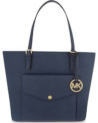 MICHAEL Michael Kors | Blue Jet Set Large Saffiano Leather Tote | Lyst