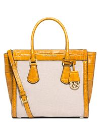 MICHAEL Michael Kors - Natural Colette Large Embossed-Leather And Canvas Satchel - Lyst
