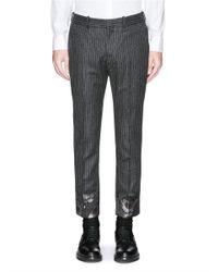 Alexander McQueen - Gray Floral Jacquard Cuff Pinstripe Wool Pants for Men - Lyst