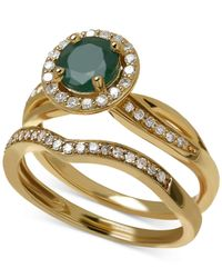 Macy's | Green Emerald (4/5 Ct. T.w.) And Diamond (1/3 Ct. T.w.) Bridal Set In 14k Gold | Lyst