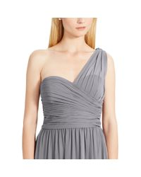 Ralph Lauren - Gray One-shoulder Georgette Gown - Lyst