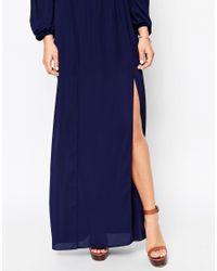 ASOS - Blue Off The Shoulder Maxi Dress - Lyst