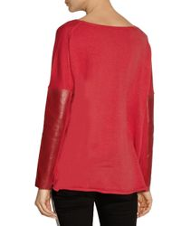 Maje - Red Ecureuil Leather-Trimmed Fine-Knit Wool And Silk-Blend Sweater - Lyst