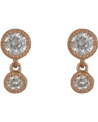 Tate - Pink Diamond Double-drop Earrings - Lyst