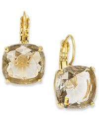 kate spade new york - Metallic 12K Gold-Plated Black Diamond Crystal Square Leverback Earrings - Lyst