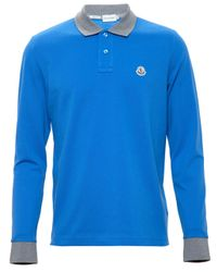 9f26d2fc6be7 Moncler Longsleeve Polo Shirt in Blue for Men - Lyst