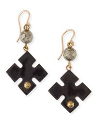 Ashley Pittman | Black Vidogo Dark Horn Clover Drop Earrings | Lyst