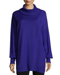 Misook | Blue Oversized Turtleneck W/ Ribbed Detail | Lyst