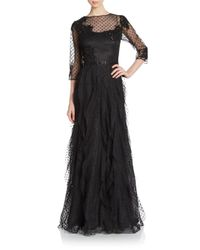 Teri Jon - Black Lace Overlay Ruched-side Gown - Lyst