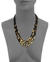 Serefina | Black Multi-Strand Abacus Bead Necklace | Lyst