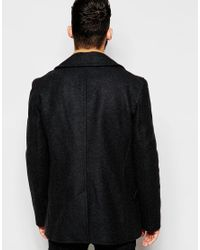 Gloverall - Gray Peacoat In Wool for Men - Lyst