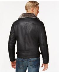 Marc New York | Black Faux Leather Jacket With Shearling Lining for Men | Lyst