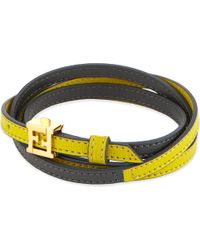 Fendi | Yellow Double Wrap Leather Bracelet | Lyst
