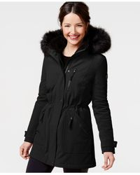 Calvin Klein | Black Faux-fur-trim Hooded Anorak | Lyst