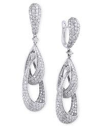 Effy Collection   Metallic Pavé Classica By Effy Diamond Teardrop Earrings (4-5/8 Ct. T.w.) In 14k White Gold   Lyst
