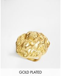 Ashiana | Metallic 22K Gold Plated Adjustable Lion Ring | Lyst