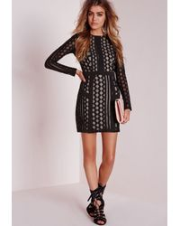 Missguided | Lace Organza Bodycon Dress Black | Lyst