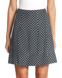 Marc Jacobs - Blue Silk Pleated Skirt - Lyst