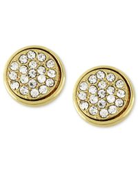 Kenneth Cole | Metallic Gold-tone Pave Round Stud Earrings | Lyst