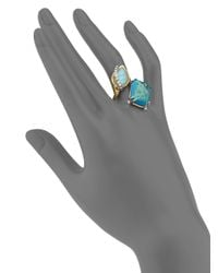 Alexis Bittar - Blue Elements Gilded Muse Chrysocolla, Amazonite & Crystal Rocky Ring - Lyst