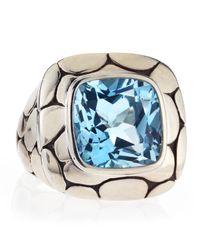 John Hardy - Batu Kali Blue Topaz Square Ring Size 7 - Lyst