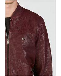 True Religion   Purple Leather Baseball Mens Jacket for Men   Lyst