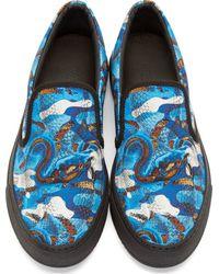 Marcelo Burlon - Blue And Brown Snake Print Slip_On Sneakers for Men - Lyst