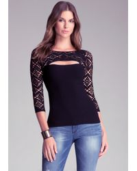 Bebe | Black Diamond Mesh Stitch Top | Lyst