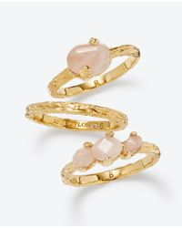 Ann Taylor | Pink Rose Quartz Ring Set | Lyst
