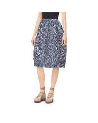 Michael Kors | Blue Gingham Crushed-Taffeta Dance Skirt | Lyst