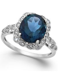 Macy's | London Blue Topaz (4 Ct. T.w.) And Diamond Accent Ring In 14k White Gold | Lyst