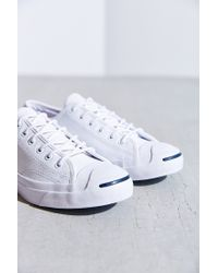 9f5a7b69ed3d Lyst - Converse Jack Purcell Tumbled Leather Low-Top Sneaker in White