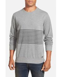 RVCA | Gray 'crucial Sin Stripe' French Terry Crewneck Sweater for Men | Lyst