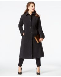 Jones New York | Gray Plus Size Wool Maxi Coat | Lyst