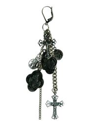 Goti - Black One Silver Earring With Medals And Cross - Lyst