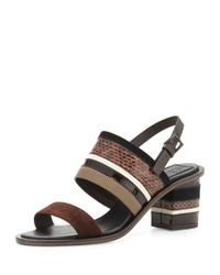 Tory Burch - Brown Edina Striped Leather Sandals - Lyst